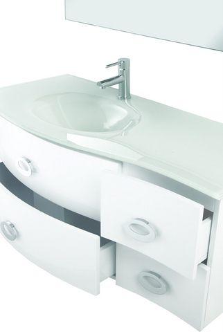Mobile white cm 110 in 3 colori con lavabo in vetro e specchiera br - Bagno largo 110 cm ...