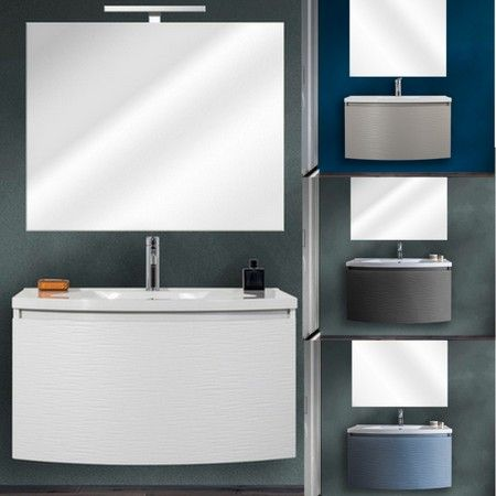 Mobile bagno sospeso alfa 80 cm con specchio 4 colori - Mobile bagno 80 ...