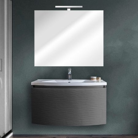 Mobile bagno sospeso alfa 80 cm con specchio 4 colori chiusura soft close - Deghi arredo bagno ...