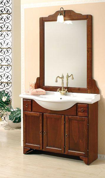 Mobile da bagno in legno massello per arredo arte povera for Prezzo specchio bagno