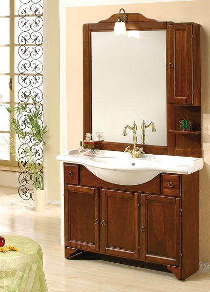 Accessori Bagno In Arte Povera.Mobile Da Bagno In Legno Massello Per Arredo Arte Povera Con Lavabo E 1 Specchio Ebay