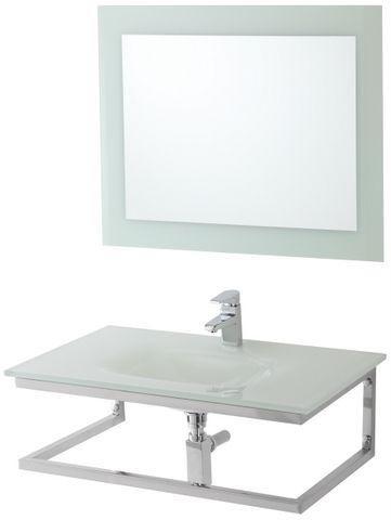Arredo bagno cm 80 in 4 colori con lavabo in cristallo e - Mobile bagno 80 ...