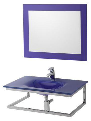 Arredo bagno cm 80 in 4 colori con lavabo in cristallo e - Mobile bagno blu ...
