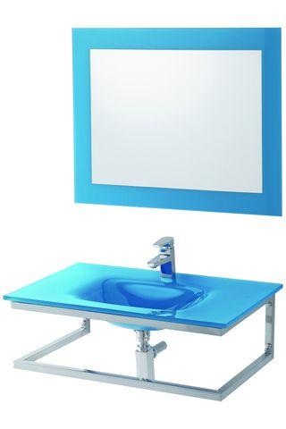 Arredo bagno violet cm 80 in 4 colori con lavabo in cristallo e struttura in acciaio br - Mobili bagno in vetro ...