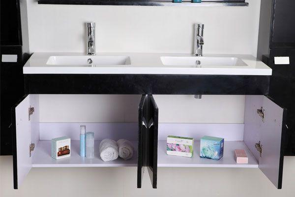 Mobile bagno lady 120 cm nero doppio lavabo in ceramica 2 for Mobile bagno 120