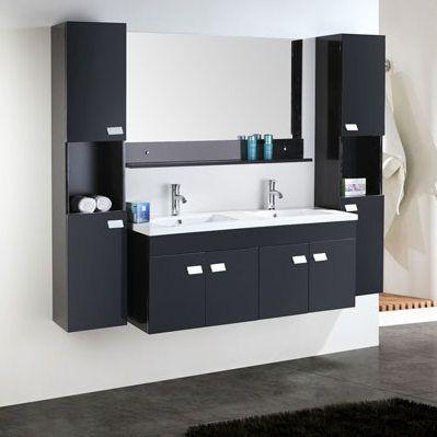 Mobile bagno lady 120 cm nero doppio lavabo in ceramica 2 colonne e miscelatori in omaggio - Mobile bagno con doppio lavabo ...