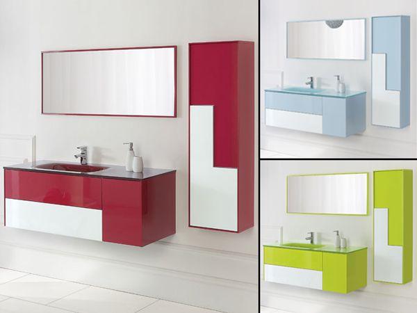 Mobile da bagno bcolour cm 120 con lavabo in vetro decentrato con cassetti e ante - Mobile cassetti bagno ...