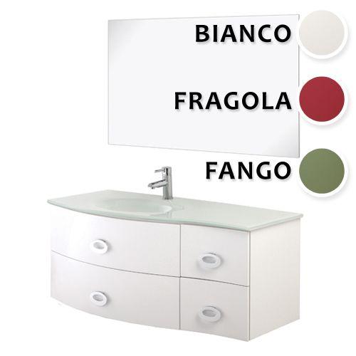 Mobile white cm 110 in 3 colori con lavabo in vetro e - Bagno largo 110 cm ...