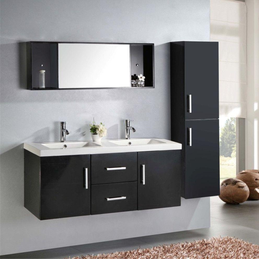 Mobile bagno Taiti 120 cm bianco o nero doppio lavabo in ceramica1 ...
