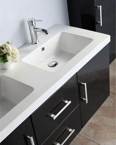 Mobile bagno taiti 120 cm bianco o nero doppio lavabo in - Doppio lavello bagno ...