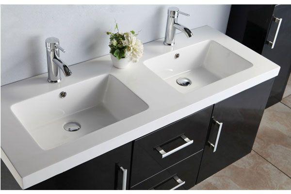 Mobile bagno taiti 120 cm bianco o nero doppio lavabo in ceramica 1colonna e miscelatori in omaggio - Mobile bagno con doppio lavabo ...