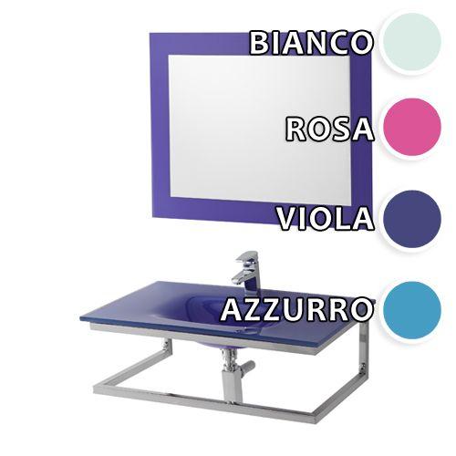 arredo bagno violet, cm 80 in 4 colori con lavabo in cristallo e ... - Arredo Bagno Colore Rosa