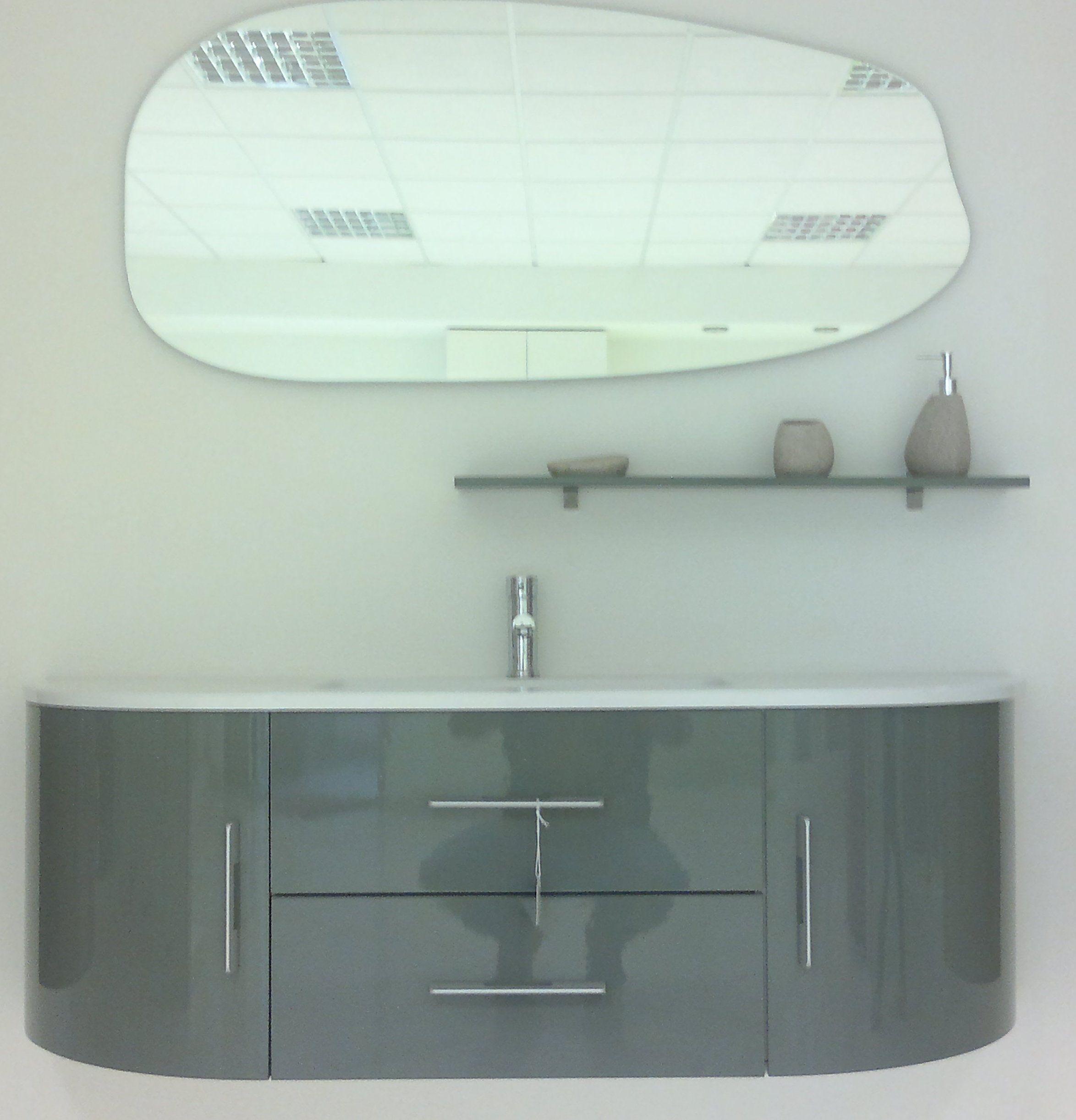 Arredobagno red mobile moderno cm 140 con specchiera e mensola portaoggetti in offerta br - Arredo bagno grigio ...