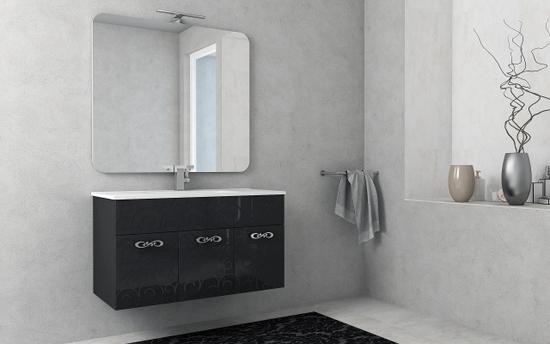 Mobile arredo da bagno milos sospeso 100 cm bianco nero lucido ...