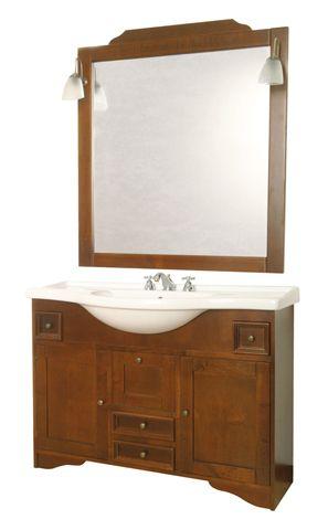 Arredo bagno mobile arte povera alessandria noce massello 120 con lavabo in ceramica - Mobile bagno arte povera ...