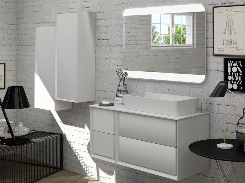 Mobile da bagno best con topo in legno mdf o in pietra acrilica lavabo da appoggio in 3 colori - Base mobile bagno ...