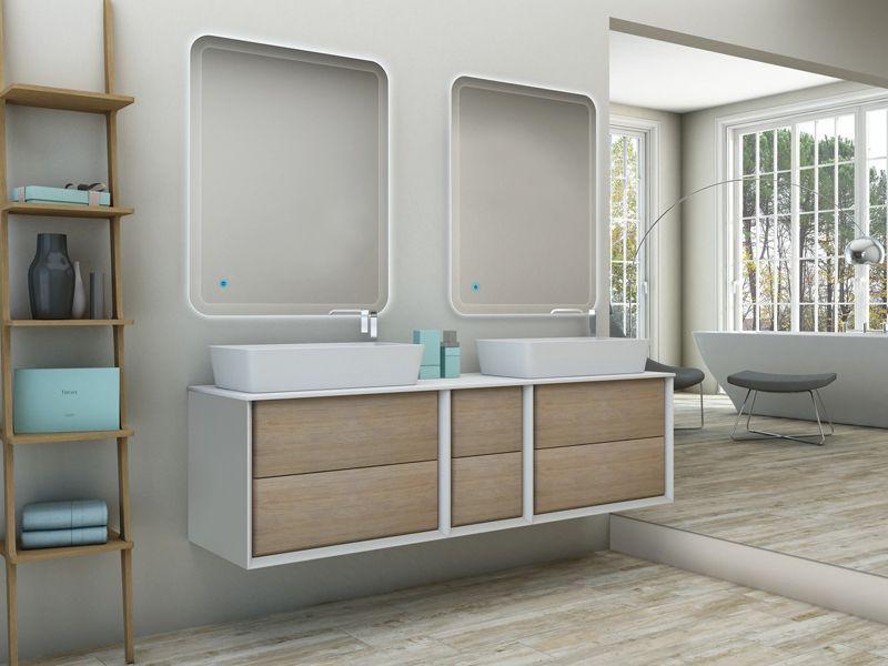Mobile da bagno doppio lavabo best con top in legno mdf o in pietra acrilica lavabo da appoggio - Mobile bagno con doppio lavabo ...