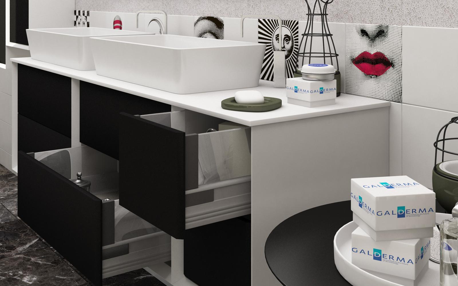 Mobile da bagno doppio lavabo best con top in legno mdf o in pietra acrilica lavabo da appoggio - Mobile bagno doppio lavabo 140 ...