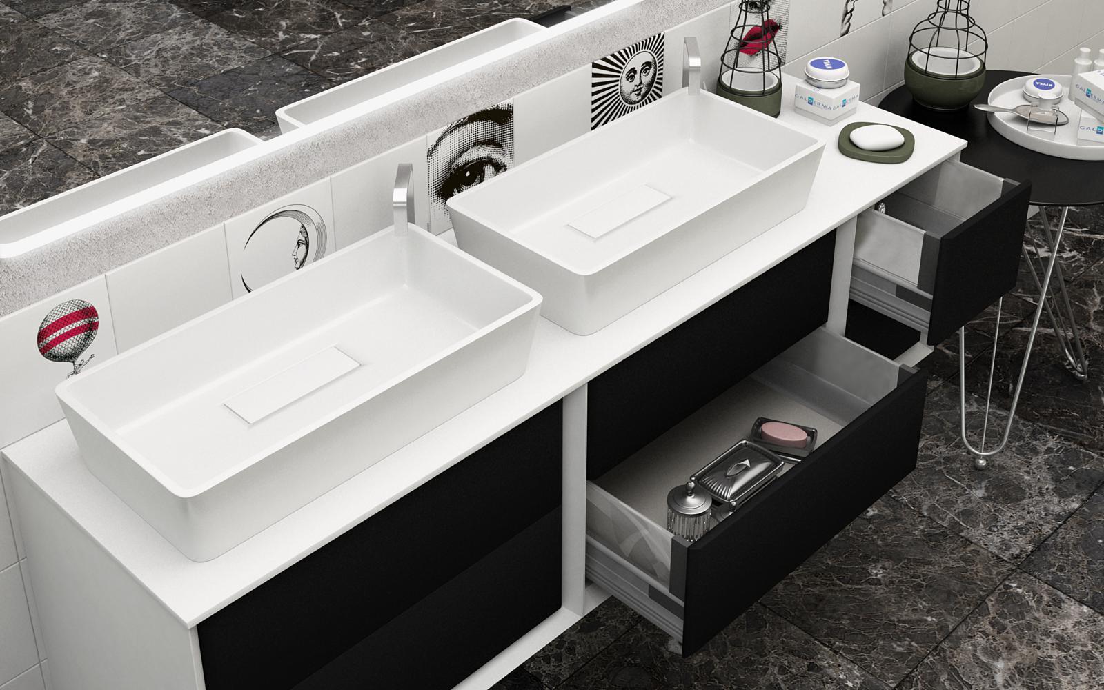 Mobile da bagno doppio lavabo best con top in legno mdf o - Mobile bagno doppio lavabo 140 ...