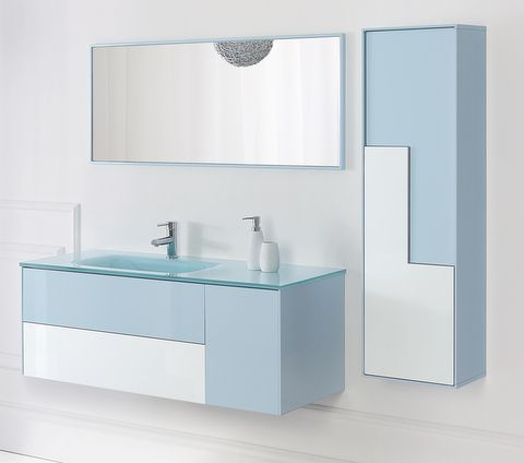 Mobile da bagno bcolour cm 120 con lavabo in vetro for Mobile bagno blu