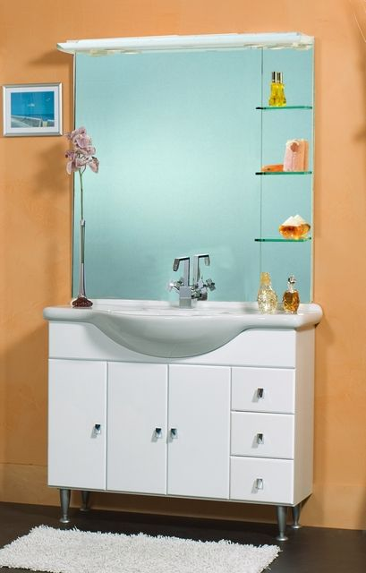 mobile bagno cleo cm 105 bianco lucido