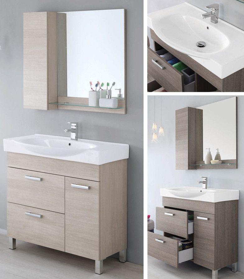 Mobile da arredo per bagno 90cm con lavabo bianco specchio for Maniglie mobili bagno