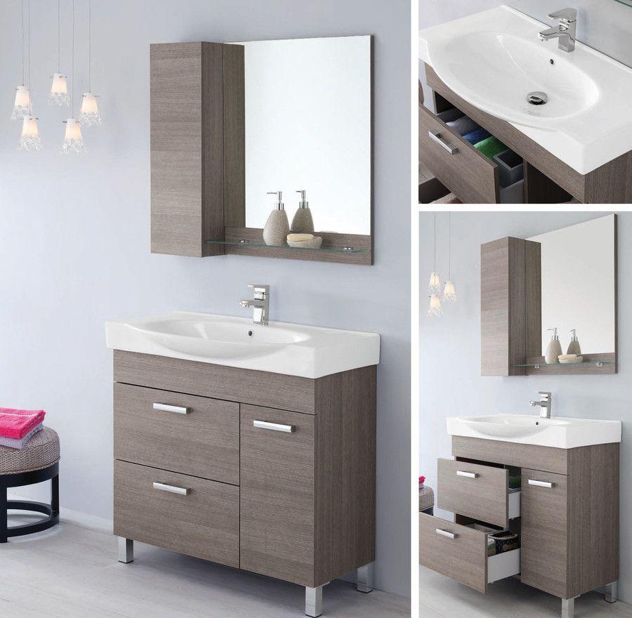 Mobile da arredo per bagno 90cm con lavabo bianco specchio pensile mensola fr ebay - Mobile bagno usato ebay ...