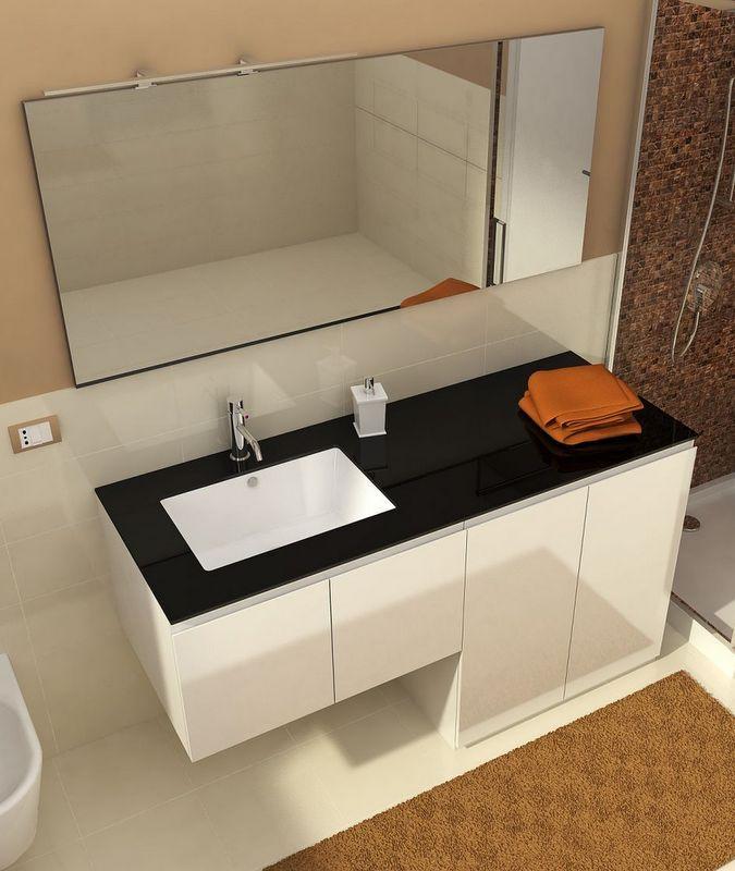 mobile bagno con portalavatrice coprilavatrice vip3 da 160 cm bianco lucido reversibile con cristallo nero o verde