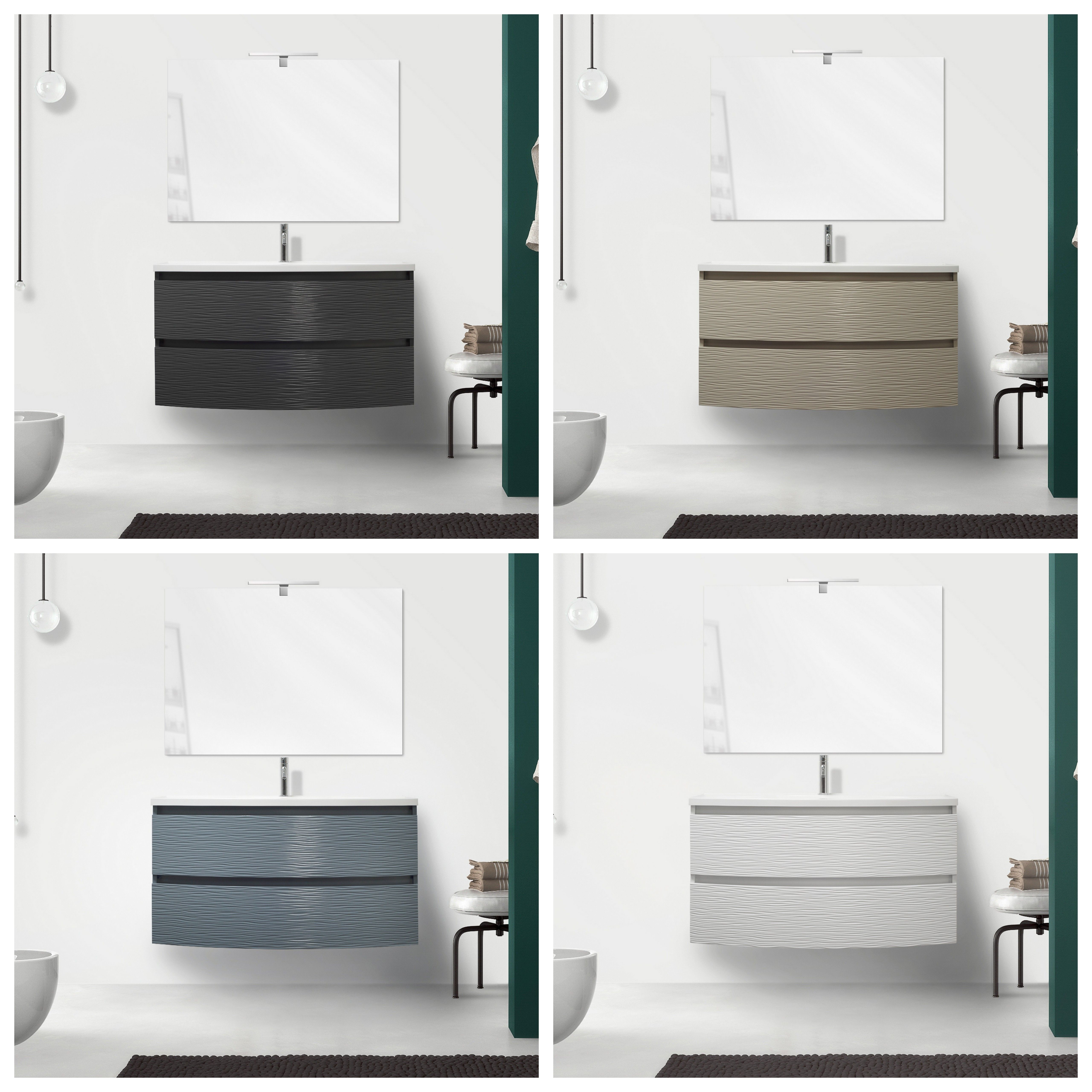 Mobile bagno curvet 80 o 100 cm 2 cassetti lavabo in - Mobile bagno 80 ...