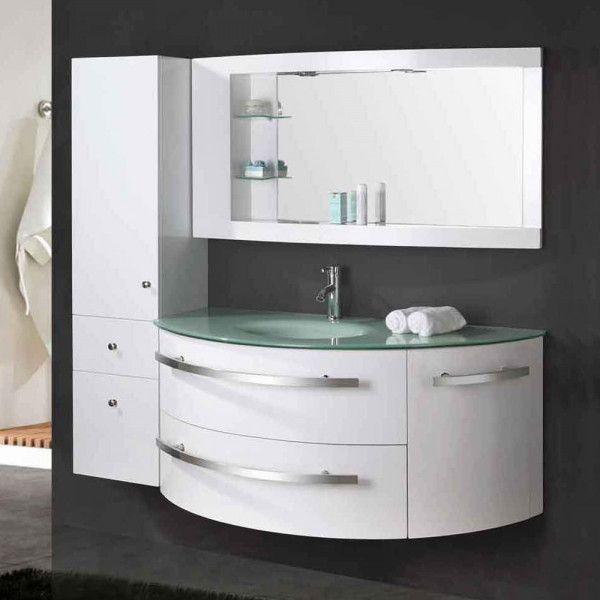 Mobile bagno desy 120 30 cm nero o bianco lavabo in cristallo e colonna in omaggio - Mobile bagno colonna ...