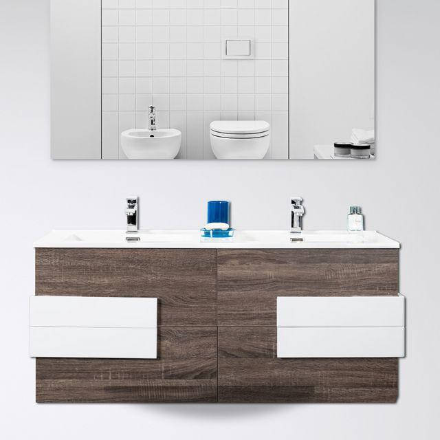 Mobile bagno energy 120 cm marrone con inserti bianchi - Mobile bagno con specchio ...