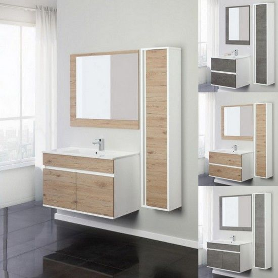 Mobile bagno fanny da 60 o 90 con cassetti o ante specchio incluso - Misure specchio bagno ...