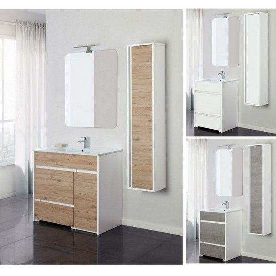 mobile bagno fanny da 60 o 90 in 3 colori a terra con specchio