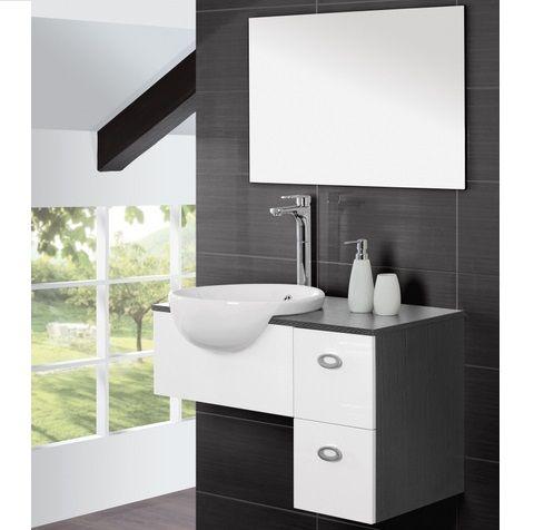 Mobile da bagno sospeso con lavabo in ceramica semincasso - Specchio rotondo bagno ...