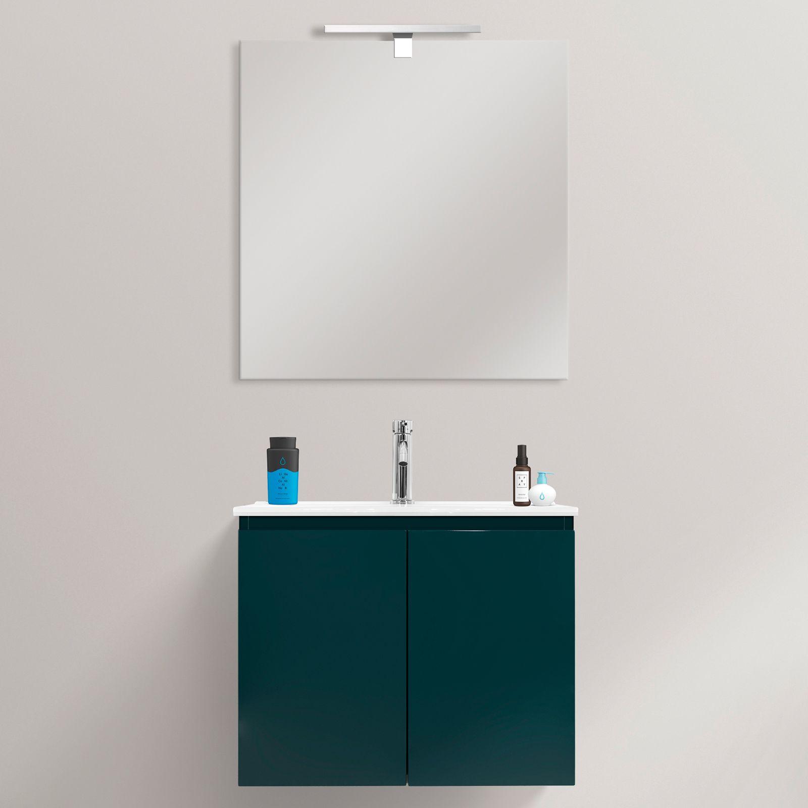Mobile bagno Fire 60x36 ultraslim sospeso moderno lavabo in ceramica in mdf con specchio in 3 colori