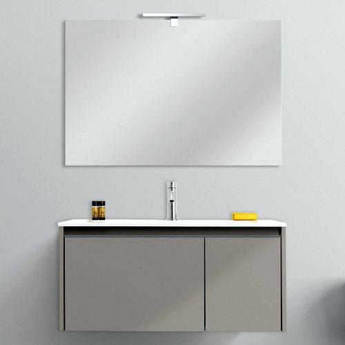 Mobile arredo bagno cm 80 o 100 sospeso bianco tortora for Specchio bagno 70x100