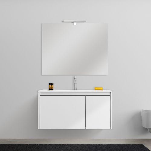 Mobile bagno sospeso five cm 80 e cm 100 con specchiera chiusura soft close in bianco oceano e - Mobile bagno sospeso 80 cm ...
