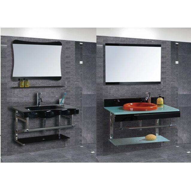 Mobile bagno sospeso in vetro struttura alluminio con specchio design moderno j ebay - Alluminio lucidato a specchio ...