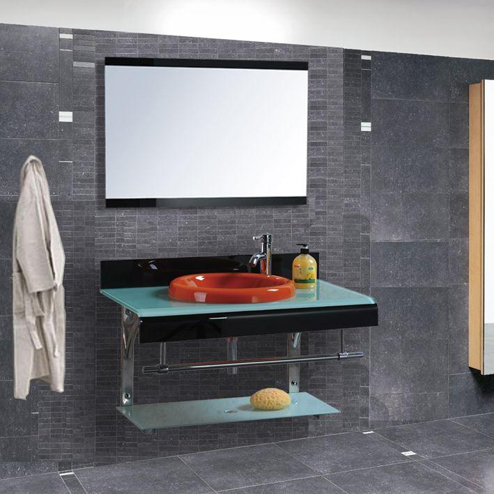Mobile bagno sospeso in vetro struttura alluminio con specchio design moderno j ebay - Mobili bagno in vetro ...