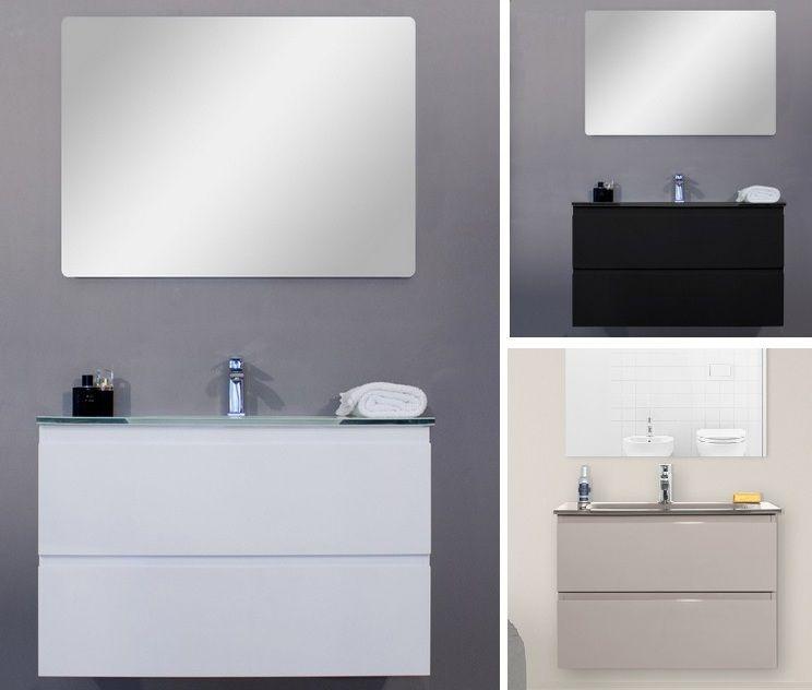 Mobile arredo bagno Iride cm 60 bianco laccato con lavabo in cristallo
