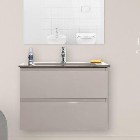 Mobile arredo bagno Iride cm 70 bianco laccato con lavabo in cristallo