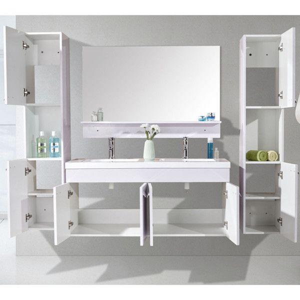 mobile bagno lady 120 cm nero doppio lavabo in ceramica 2 colonne e miscelatori in omaggio. Black Bedroom Furniture Sets. Home Design Ideas
