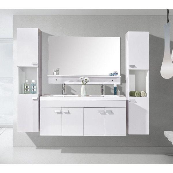 Mobile bagno lady 120 cm nero doppio lavabo in ceramica 2 colonne e miscelatori in omaggio - Mobile bagno doppio lavabo ...