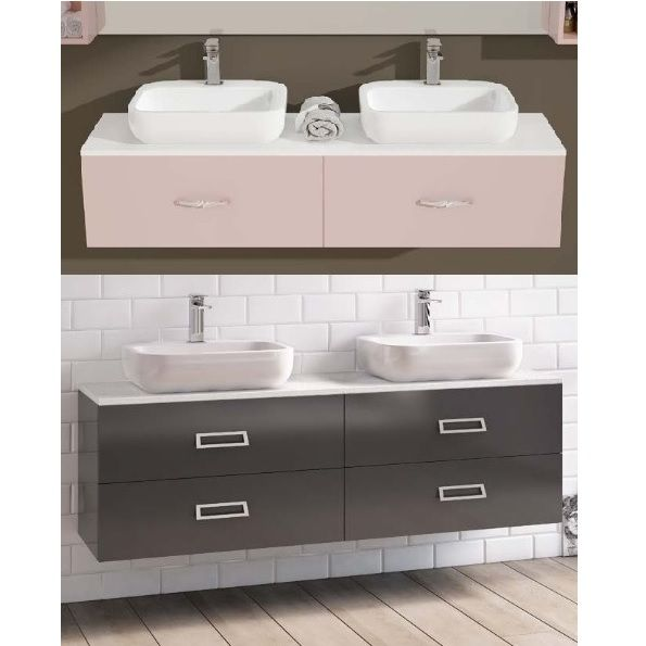 Arredo bagno moderno ice doppio lavabo in 30 colori bb - Mobile lavello bagno ...