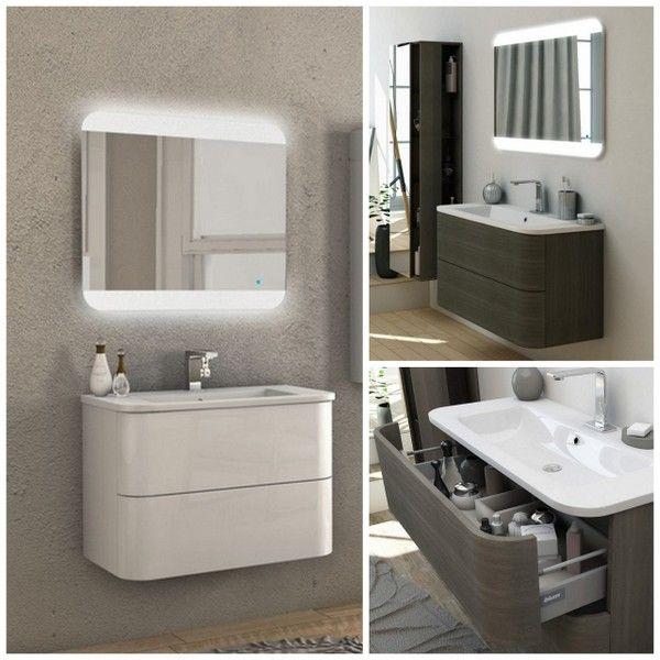 Mobile da bagno moderno angel 80 100cm arredo con lavabo for Foto arredo bagno moderno