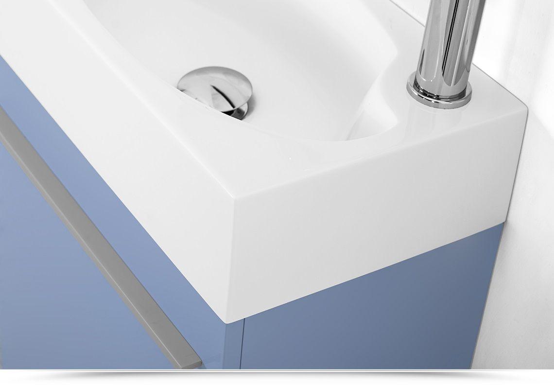 Mobile bagno sospeso karma cm specchiera bianco grigio azzurro