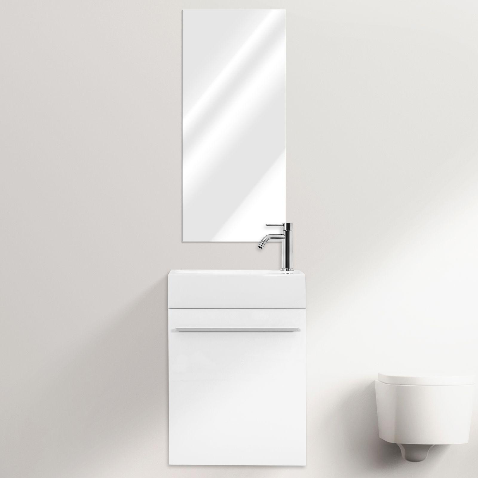 Mobile bagno sospeso karma cm 46 specchiera bianco grigio azzurro salvia marrone chiusura soft close - Mobile bianco bagno ...