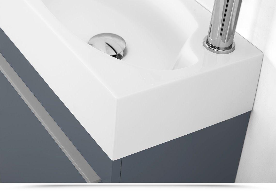 Mobile bagno sospeso karma cm 46 specchiera bianco grigio azzurro salvia marrone chiusura soft close - Mobile bagno grigio ...