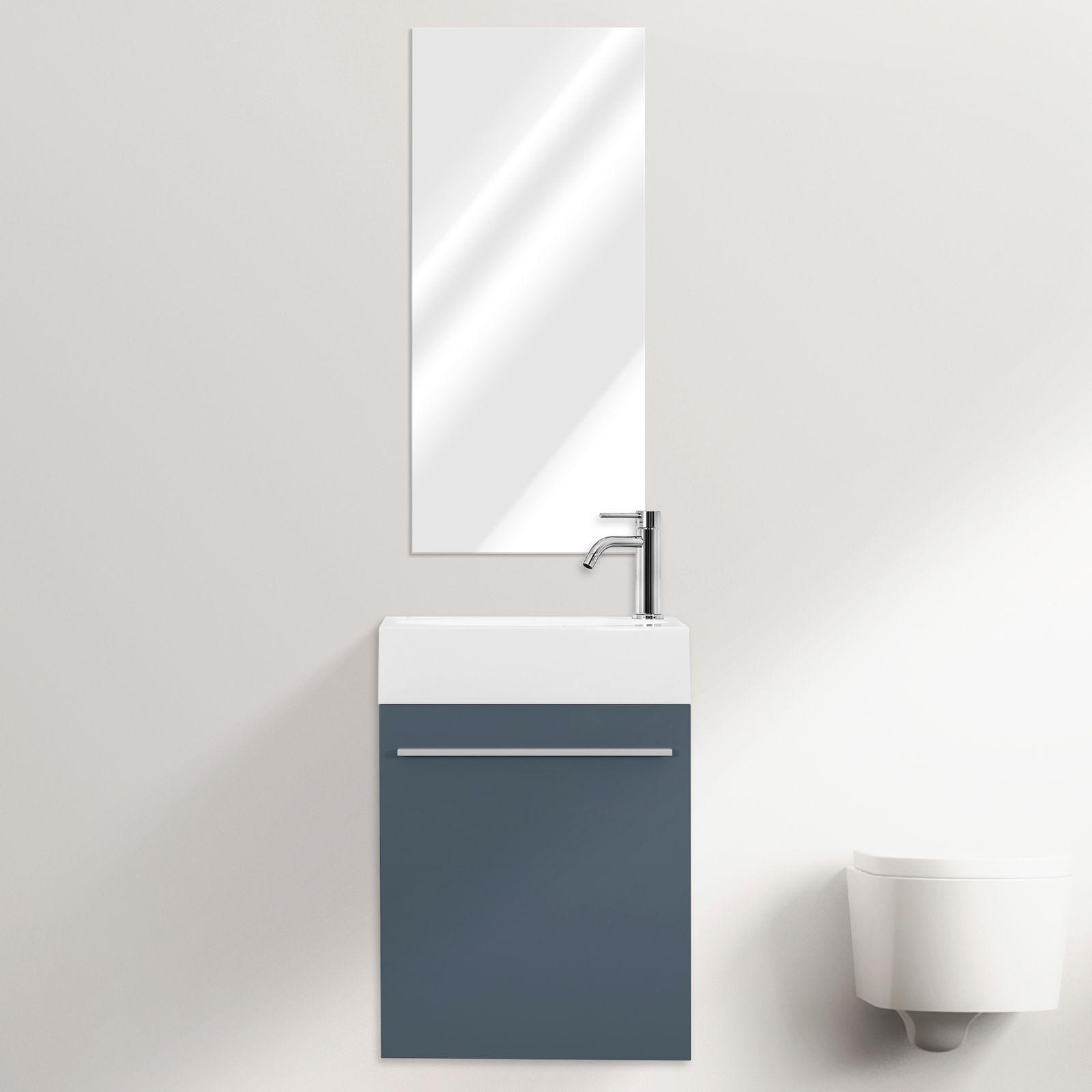 Mobile bagno sospeso karma cm 46 specchiera bianco grigio - Bagno moderno grigio ...
