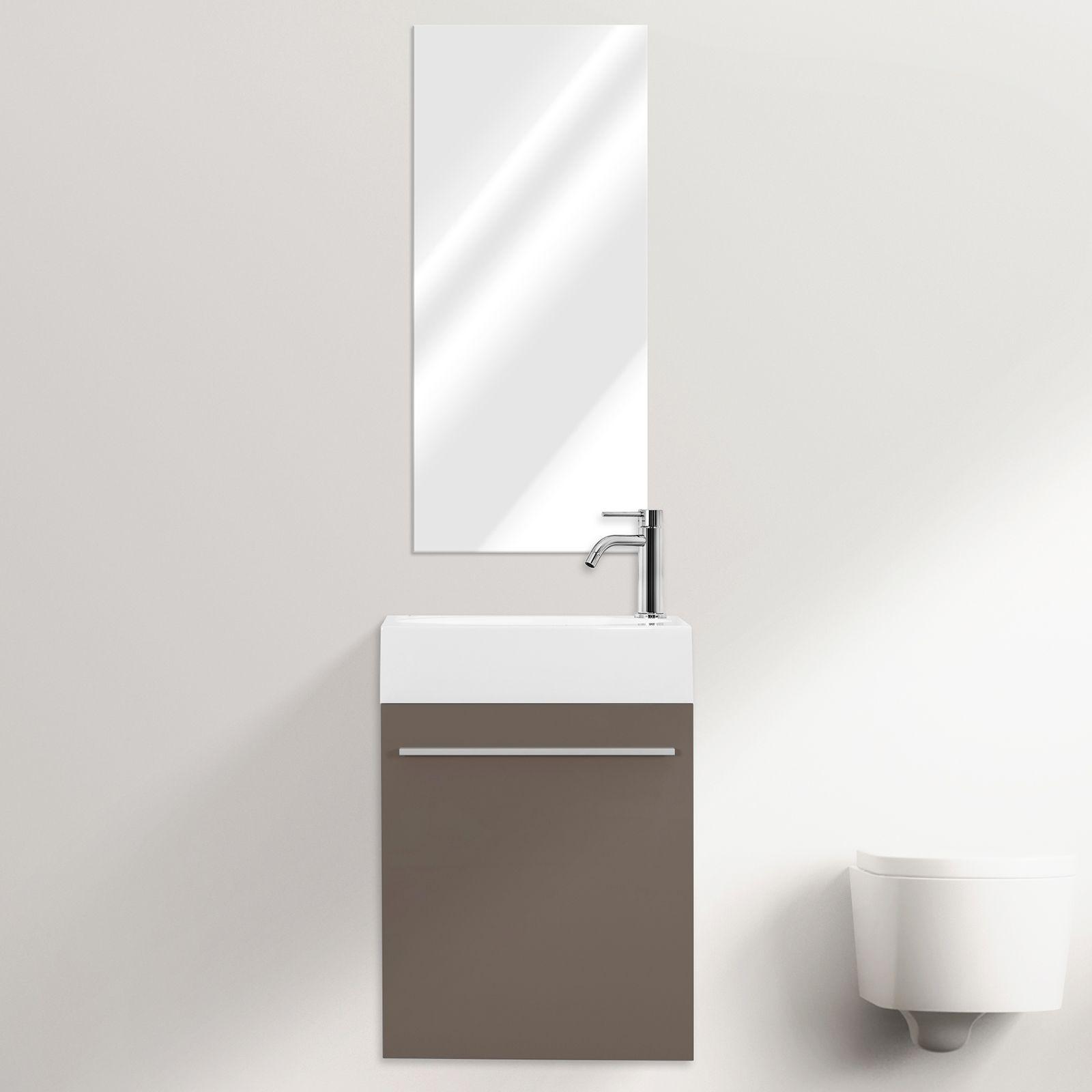 Mobile bagno sospeso karma cm 46 specchiera bianco grigio for Mobile bagno salvaspazio